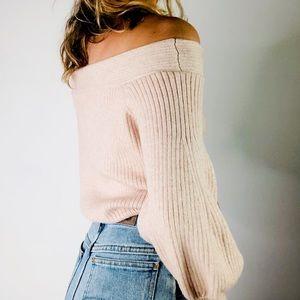 ANTHROPOLOGIE MOTH | Off Shoulder Blush Sweater XS
